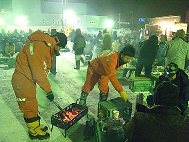北見市 厳寒の焼き肉まつり