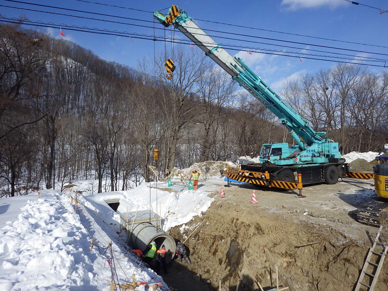 旭川紋別自動車道 遠軽町 野上道路排水設置工事